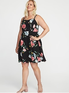 Floral-Print Fit & Flare Plus-Size Cami Dress