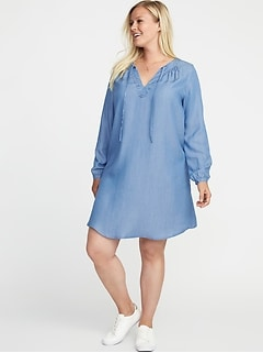 Plus-Size Tie-Neck Tencel&#174 Swing Dress
