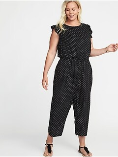 Waist-Defined Plus-Size Ruffle-Trim Jumpsuit
