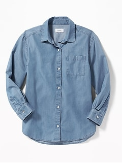 Chambray Boyfriend Tunic Shirt for Girls