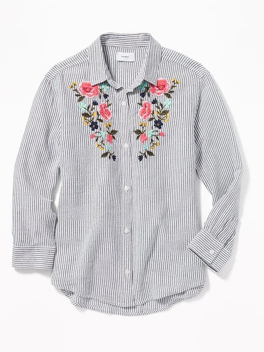 Floral Embroidered Boyfriend Tunic Shirt For Girls by Old Navy