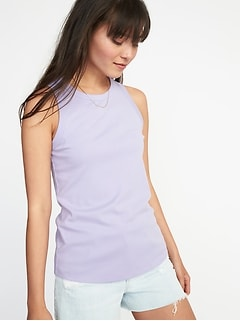 Slim-Fit High-Neck Sleeveless Tee for Women