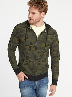 Soft-Washed Lightweight Camo-Print Hoodie for Men