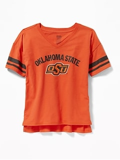 College Team Sleeve-Stripe Tee for Girls