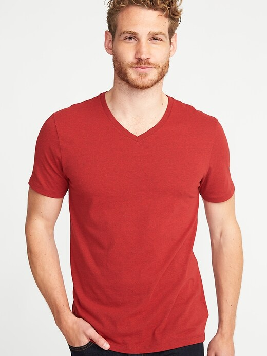 Soft-Washed Slub-Knit V-Neck Tee for Men