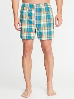 Plaid Poplin Boxers for Men