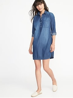Chambray Shirt Dress for Women