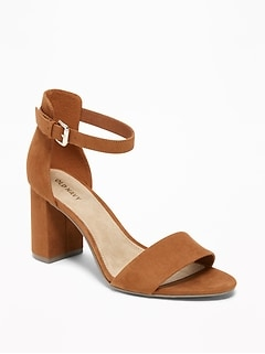 Sueded Block-Heel Sandals for Women