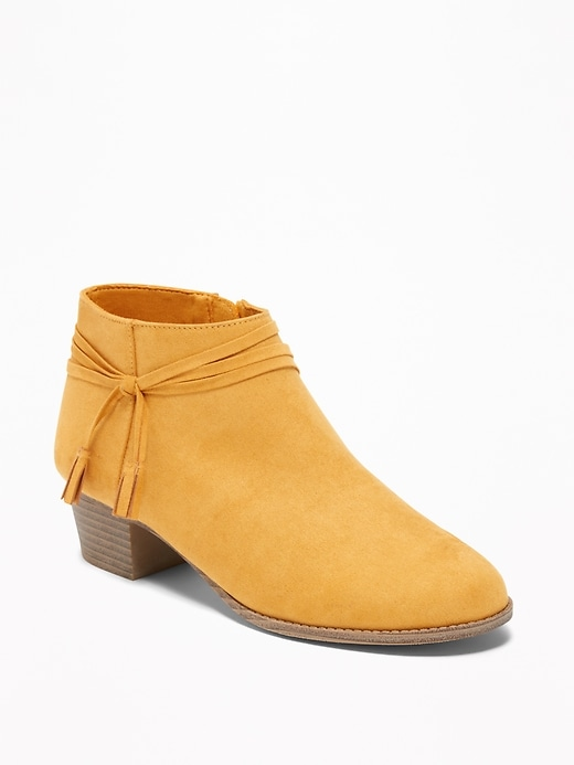 Faux Suede Strappy Ankle Boots For Girls by Old Navy