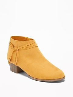 Faux-Suede Strappy Ankle Boots for Girls