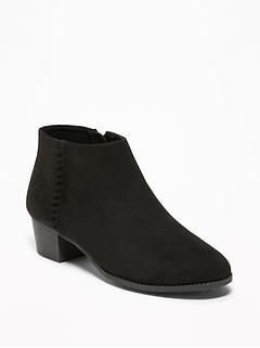 Faux-Suede Side-Stitch Ankle Boots for Girls