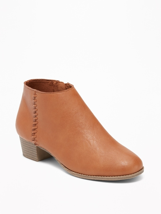 Faux-Leather Side-Stitch Ankle Boots for Girls