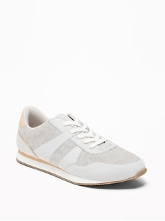 Retro Brushed-Felt Sneakers for Women