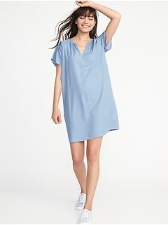 V-Neck Shift Dress for Women