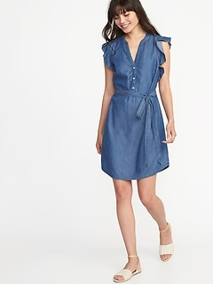 Chambray Flutter-Sleeve Tie-Belt Shirt Dress for Women