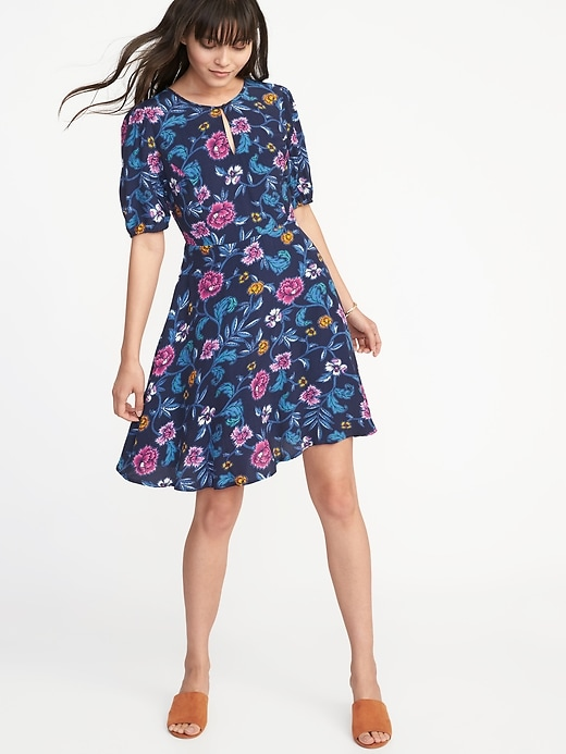Fit & Flare Crepe Dress For Women by Old Navy