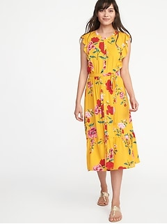 Ruffle-Trim Tie-Belt Shirt Dress for Women