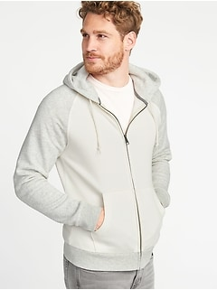 Color-Blocked Raglan Zip Hoodie for Men