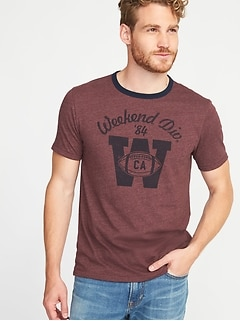 Graphic Crew-Neck Ringer Tee for Men