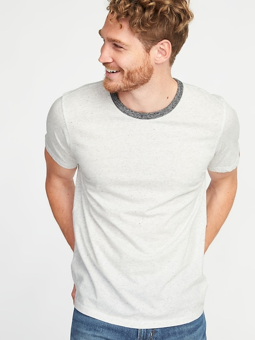 Soft Washe Crew Neck Ringer Tee For Men by Old Navy