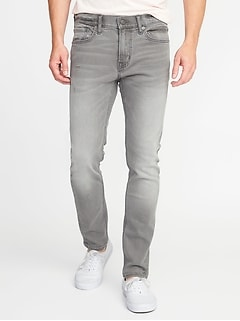 Skinny Built-In Flex Distressed Gray Jeans for Men