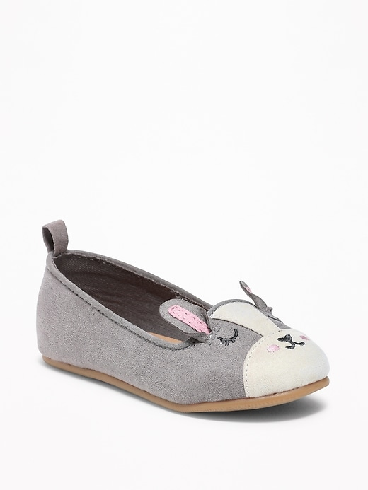 Sueded Bunny Ballet Flats For Toddler Girls