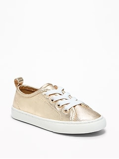 Metallic Lace-Up Sneakers for Toddler Girls