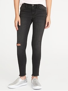 Distressed Raw-Edge Black Rockstar Jeggings for Girls