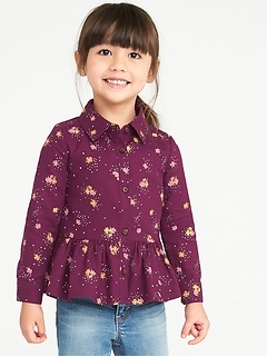 Button-Front Peplum-Hem Top for Toddler Girls