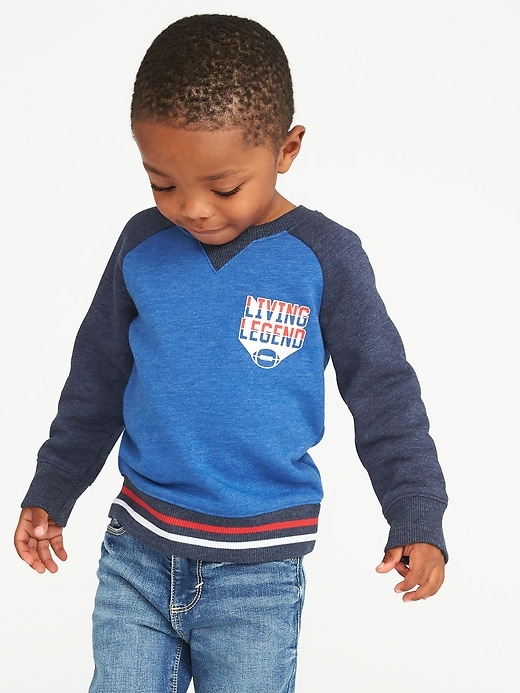 """Living Legend"" Raglan Crew-Neck Sweatshirt for Toddler Boys"