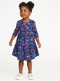 Floral Tiered Swing Dress for Toddler Girls