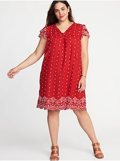 Plus-Size Linen-Blend Cutwork Swing Dress