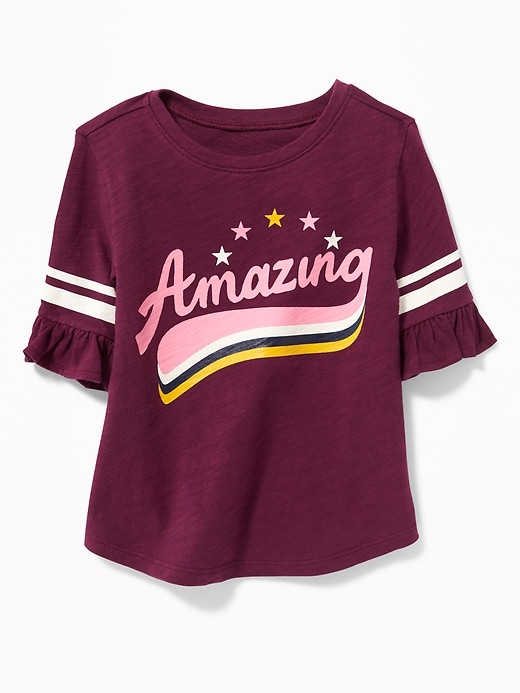 Ruffle Sleeve Football Style Top For Toddler Girls by Old Navy