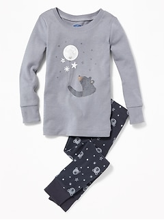 Bear-Print Sleep Set for Toddler Boys