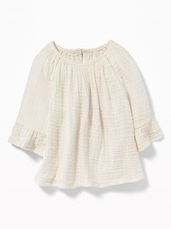 Crinkle-Gauze Peasant Top for Baby