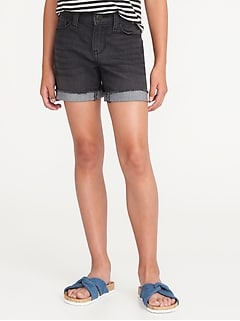 Rolled-Cuff Denim Midi Shorts for Girls