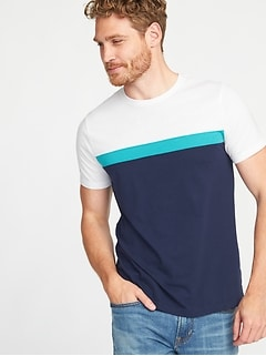 Soft-Washed Color-Block Crew-Neck Tee for Men