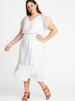 Plus-Size Crochet-Sleeve Cinched-Waist Tiered Midi