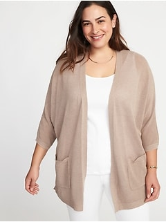 Textured-Knit Dolman-Sleeve Plus-Size Open-Front Sweater