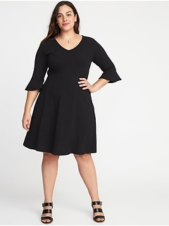 V-Neck Flute-Sleeve Fit & Flare Plus-Size Dress