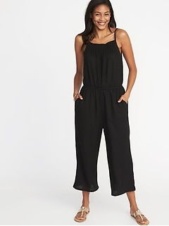 Waist-Defined Sleeveless Linen-Blend Jumpsuit for Women