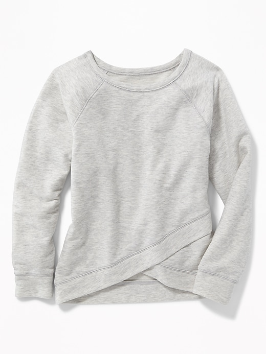 Relaxed French Terry Cross Front Sweatshirt For Girls by Old Navy