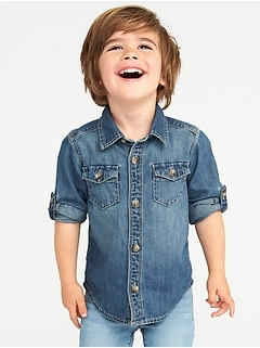 Denim Pocket Shirt for Toddler Boys