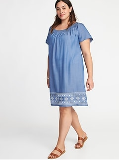 Smocked-Neck Embroidered-Hem Plus-Size Shift Dress