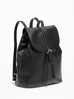 Faux-Leather Cinched-Top Backpack for Women