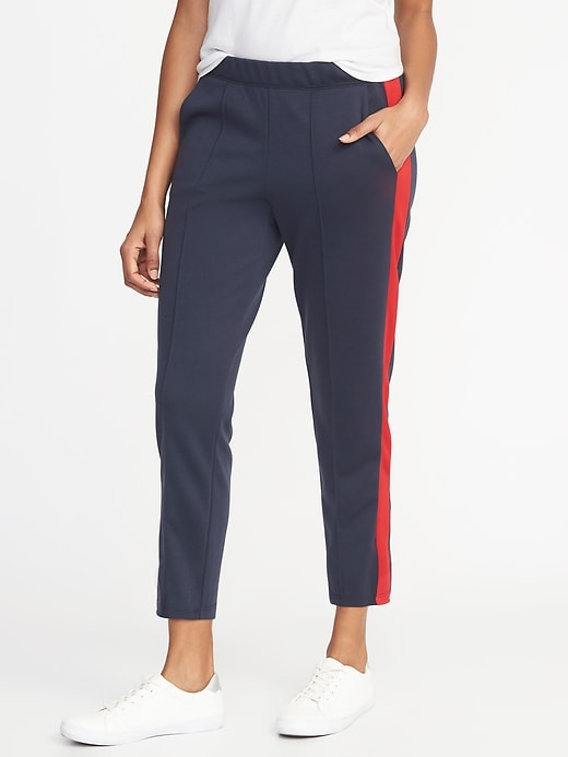 Color Block Side Stripe Track Pants For Women by Old Navy