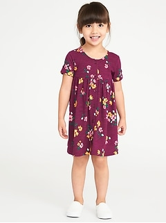 Fit & Flare Button-Front Dress for Toddler Girls
