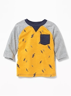 Slub-Knit Raglan Pocket Tee for Boys
