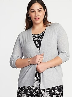 Short Open-Front Plus-Size Sweater