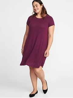 Plush Jersey-Knit Plus-Size Swing Dress